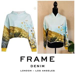 FRAME denim photo real cropped hoodie